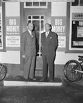 Two men standing in front of William's Store. Broadway, Va.