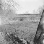 Front view of Meem's Covered Bridge, with a view of the inside