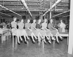 Group of seven women sitting in a line on the edge of a table in some sort of factory or warehouse