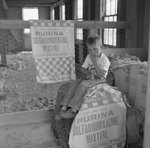 Small boy sitting on a tall bag of Purina mixture at the Mt. Jackson Mill.
