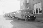 A row of school buses parked on the side of the street by William Garber