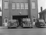 Front view of the Mt. Jackson Fire Department, with three trucks pictured by William Garber