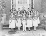 Group photo of the members of the Timberville (High) School band with their instruments held up. by William Garber