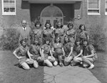 Timberville (High) School, women's basketball team, posing with their coach. by William Garber