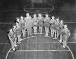 Timberville (High) School, women's basketball team, view from the air of them lined up on the basketball court.