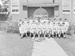 Timberville (High) School, men's baseball team posing in front of the school by William Garber
