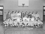 Timberville (High) School, men's baseball team posing with their coach in the basketball gym by William Garber