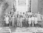 Timberville School, a group of very young boys and girls with their teacher