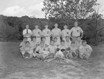 """Team photo of a men's baseball team with the letter """"E"""" on their uniforms by William Garber"""