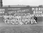 Team photo of the Front Royal male baseball team (probably Front Royal Cardinals of the Valley Baseball League), taken in front of a baseball field's fence which advertises for Woodstock businesses