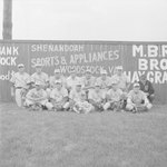 Team photo of the Front Royal male baseball team (probably Front Royal Cardinals of the Valley Baseball League), taken in front of a baseball field's fence which advertises for Woodstock businesses by William Garber