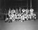 Team photo of the New Market men's baseball team, probably the New Market Rebels, taken in front of the stands of a baseball field