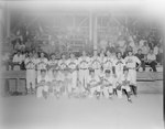 Team photo of the baseball team New Market Rebels in front of the fan stands at the game against the (Harrisonburg) Turks