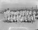 Team photo of the Quicksburg men's baseball team (Probably of the Valley Twin County or Rockingham County Leagues), the field and fan stands in the background