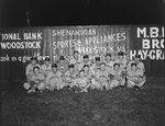Team photo of the Shenandoah's men's baseball team, with a baseball field's fence advertising Woodstock businesses in the background