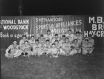 Team photo of the Shenandoah men's baseball team, with a baseball field's fence advertising Woodstock businesses in the background