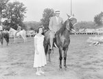 Broadway Horse Show, a man posing on a horse with a woman standing next to him