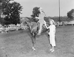 Broadway Horse Show, a man riding a horse with a woman standing next to him