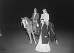 Timberville Horse Show, two men posing on their horses, with a woman standing in front of them