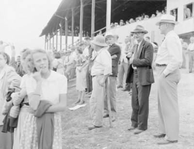 Crowds of people at the Shenandoah County Fair standing and sitting in risers, watching a show or sporting event that is not pictured