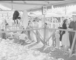 Crowds of people at the Shenandoah County Fair viewing the merchandise of a glassware vendor