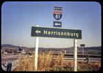 """To Harrisonburg"" Highway sign by James Madison University"