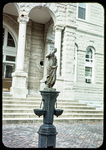 Statue at entrance to Court House by James Madison University