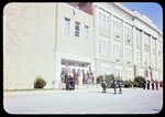 JMU Color Guard and dignitaries in front of Thomas Harrison Junior High by James Madison University