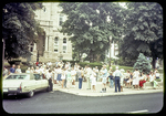 Harrisonburg Bicentennial (people in front of Court House) waiting for Bus Tour
