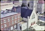 View of Presbyterian Church from aerial ladder